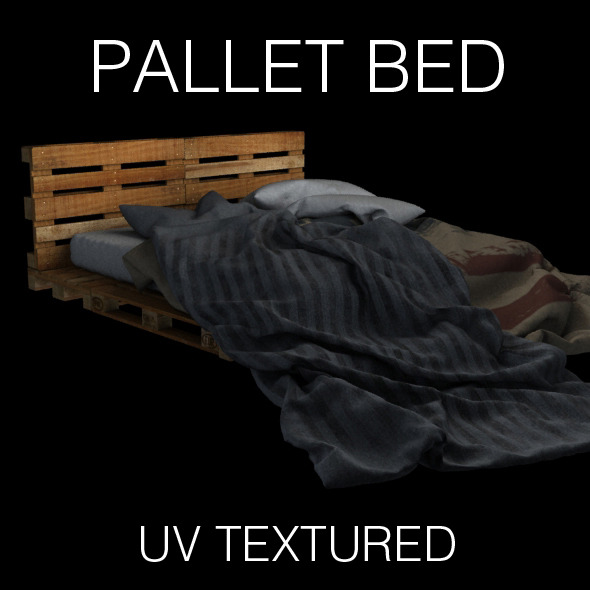 Pallet bed for bedroom interior - 3DOcean Item for Sale