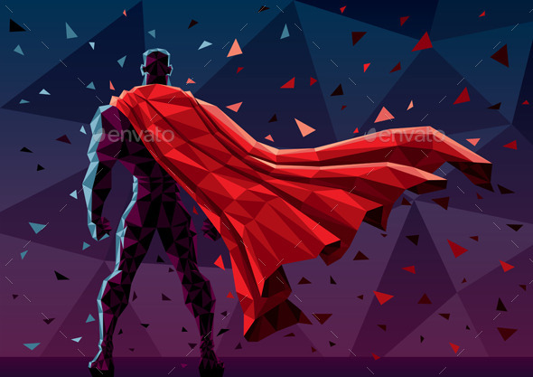 Low poly superhero by malchev graphicriver low poly superhero backgrounds decorative toneelgroepblik Image collections