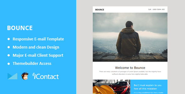 Bounce - Responsive Email + Themebuilder Access  - Email Templates Marketing