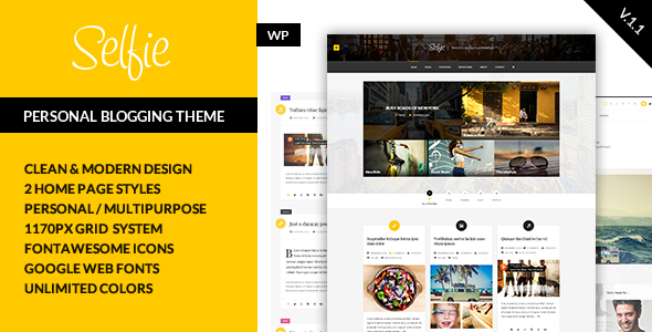 Selfie - Personal Blogging Theme - Personal Blog / Magazine