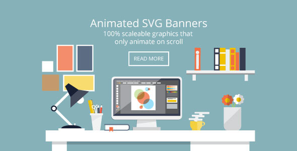 Flat Design Desk Banners - Animated SVG