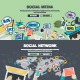 Flat Design Concepts for Social Media and Network - GraphicRiver Item for Sale