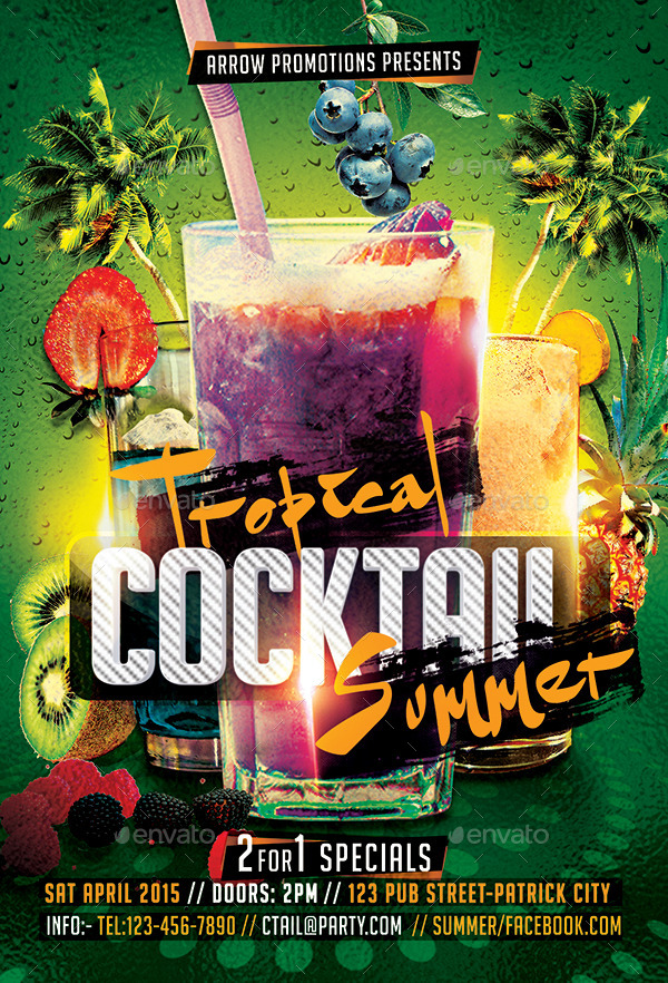 Tropical Cocktail Summer Flyer Template By Arrow  Graphicriver