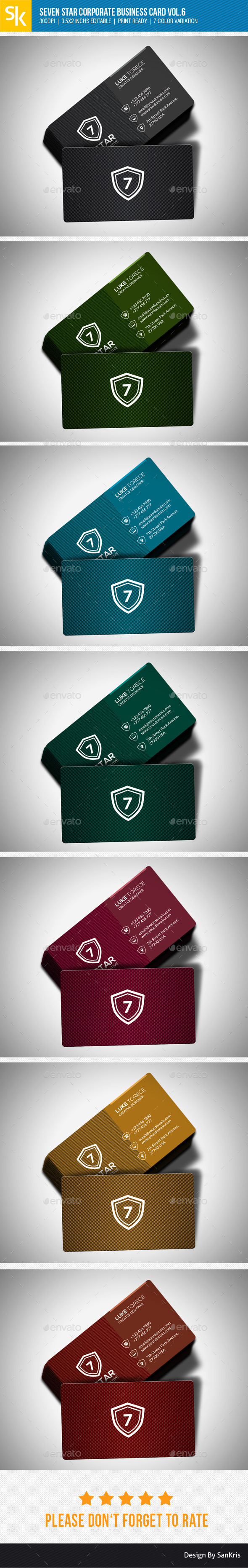 Seven Star Corporate Business Card Vol.6 - Corporate Business Cards