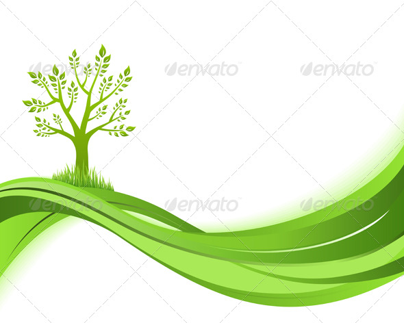 Green nature background. Eco concept illustration - Backgrounds Decorative
