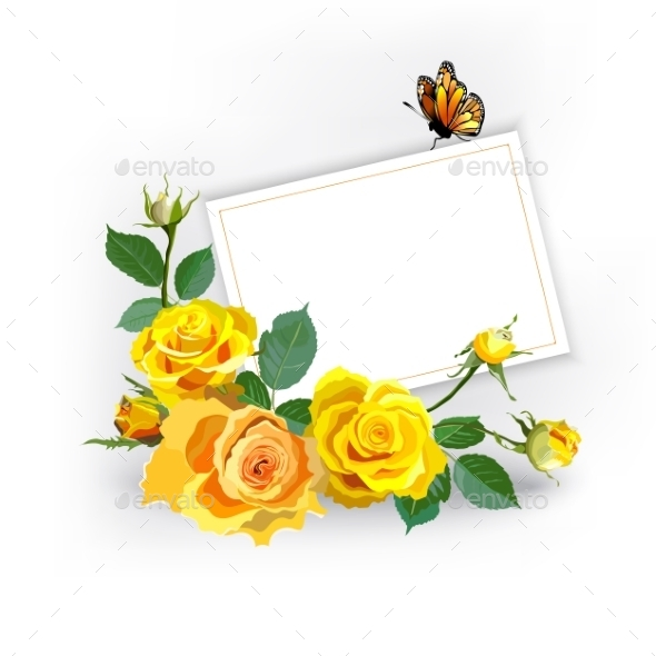 Floral background with yellow roses by sam2211 graphicriver floral background with yellow roses flowers plants nature mightylinksfo