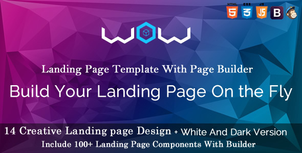 WOW Landing Page Template with Page  Builder