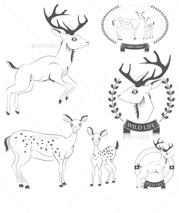Deer Emblems - Animals Characters