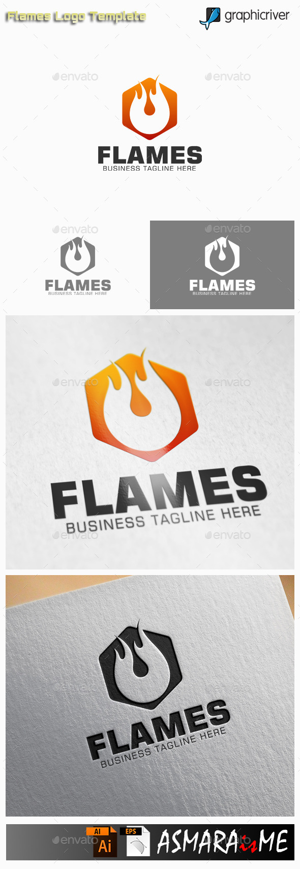Flame - Fire Hexagon Logo