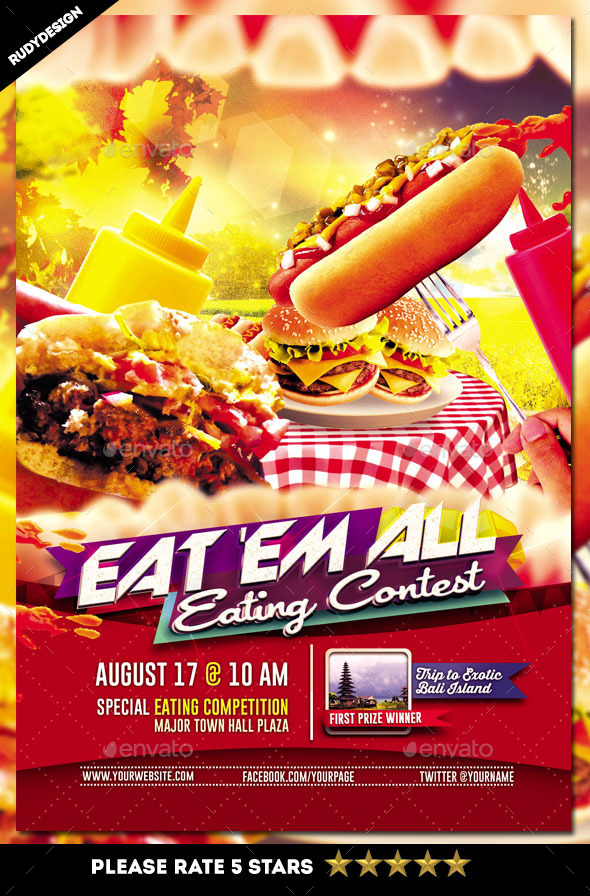 Eating Contest Flyer Template By Rudydesign Graphicriver