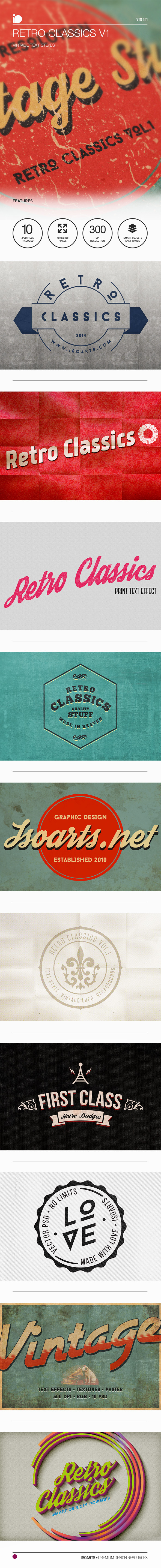 Vintage Text Styles • Retro Classics V1 - Text Effects Actions