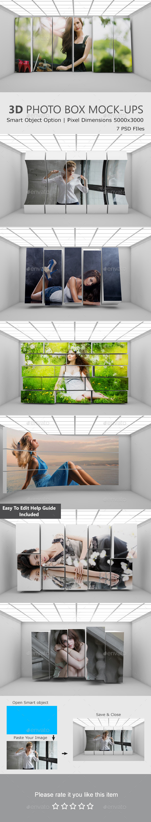 3D Photo Box Mockups - Miscellaneous Print