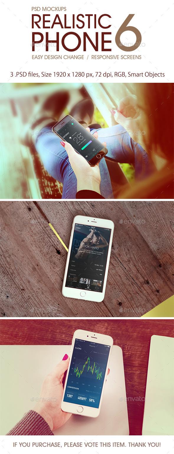 Realistic Phone 6 Mockup - Product Mock-Ups Graphics