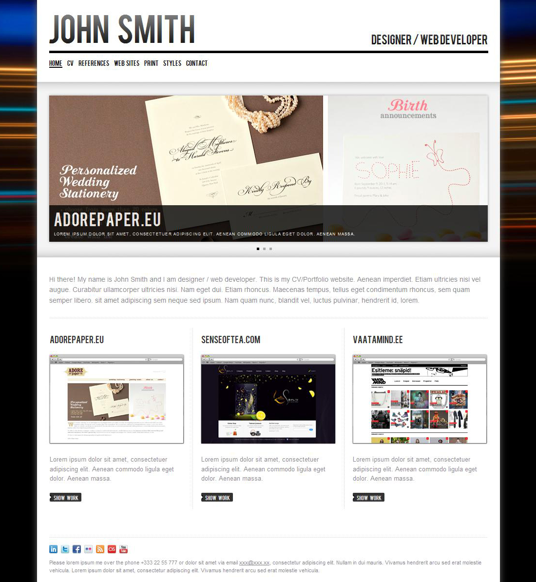 John Smith Personal CvPortfolio Website Template By Odincov
