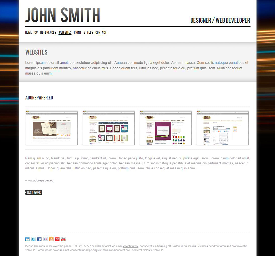 john smith  personal cv  portfolio website template by odincov