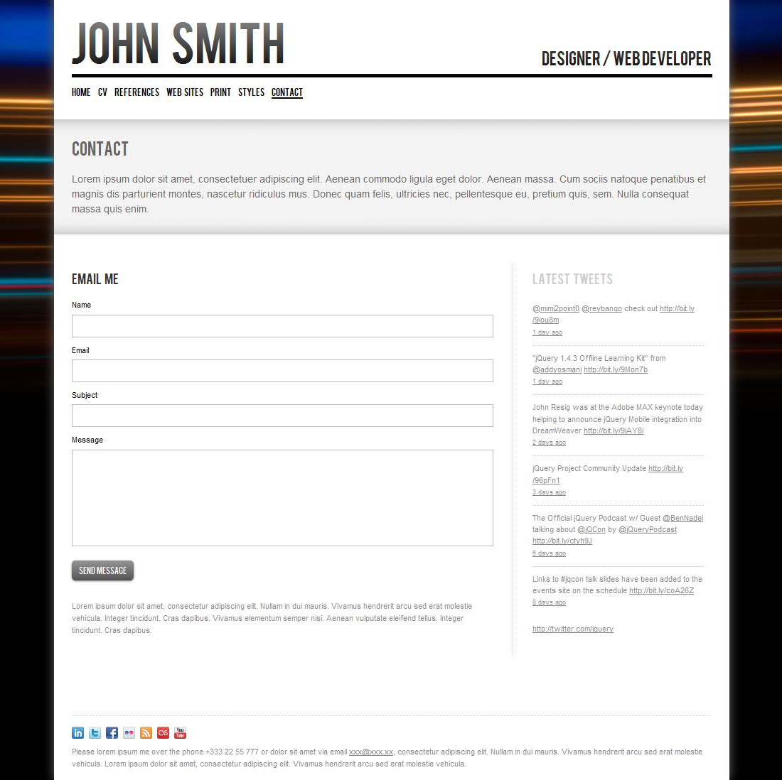 john smith  personal cv  portfolio website template by