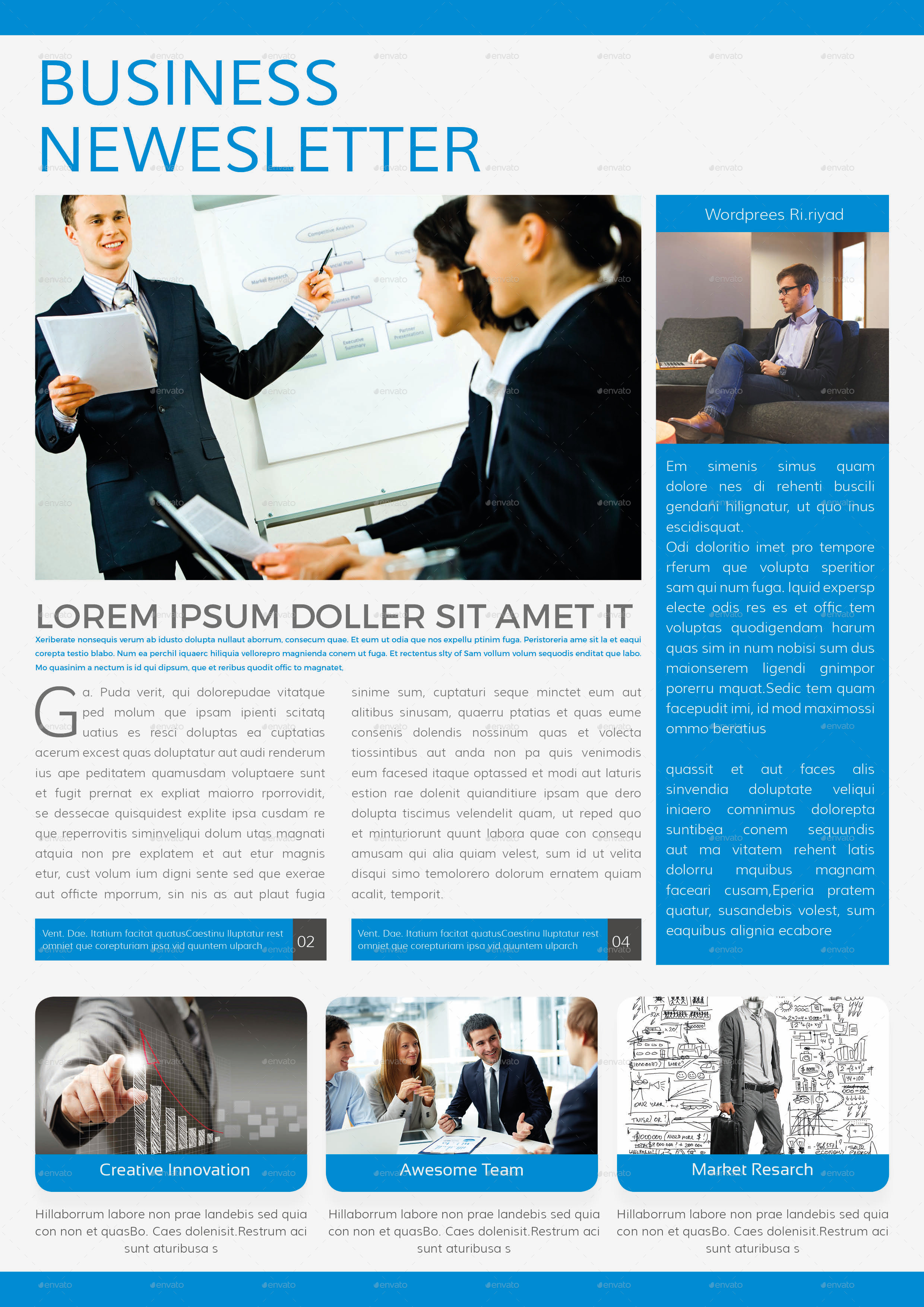 business newsletter template 4 pages by addaxx graphicriver