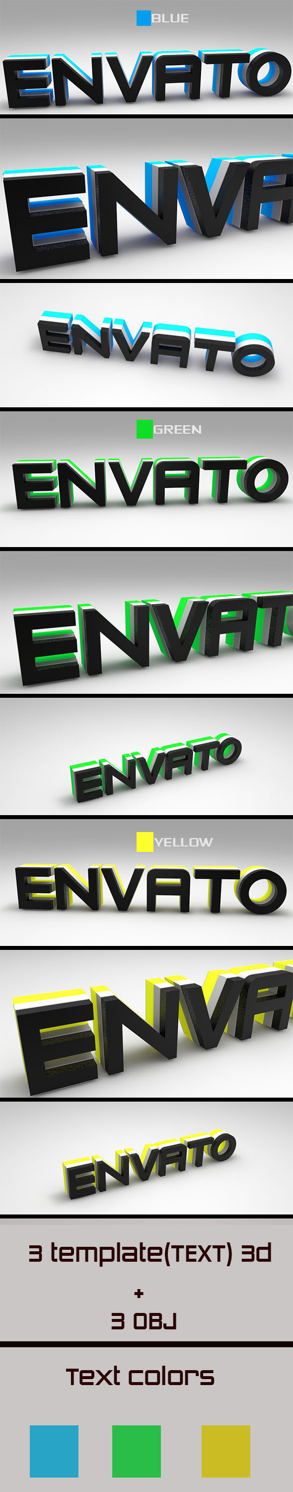 Text 3D Envato ( Blue-Green-Yellow)  - 3DOcean Item for Sale