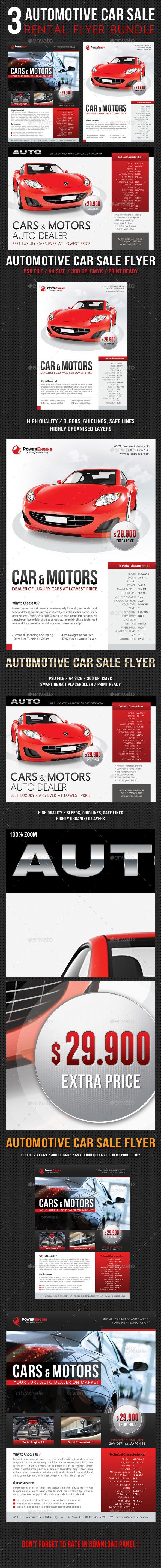 3 in 1 automotive car sale rental flyer bundle by rapidgraf