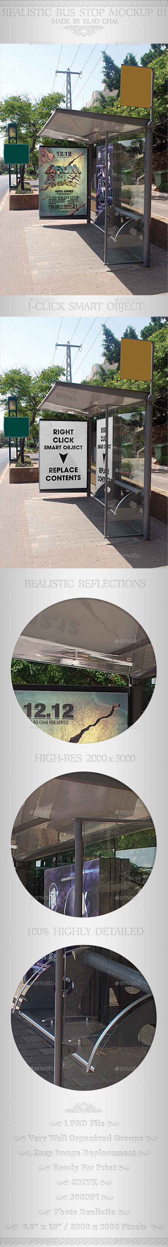 Realistic Bus Stop Flyer Poster Mockup 02 - Signage Print