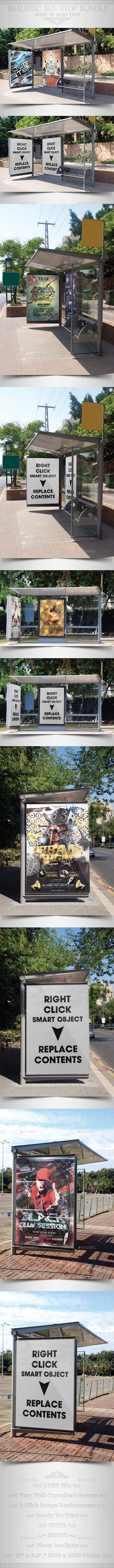 Bundle Realistic Bus Stop Flyer Poster Mockup - Print Product Mock-Ups