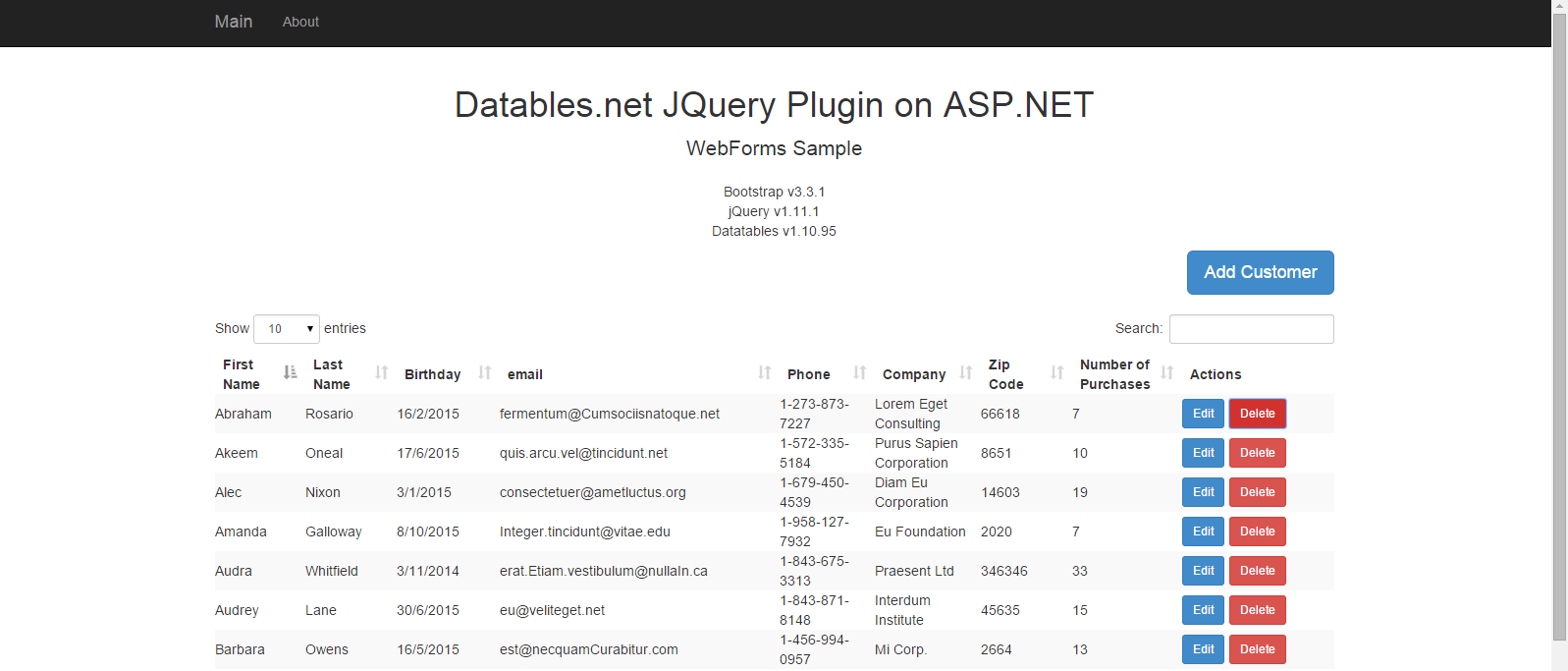 ASP NET JQuery Datatables Server Side Integration