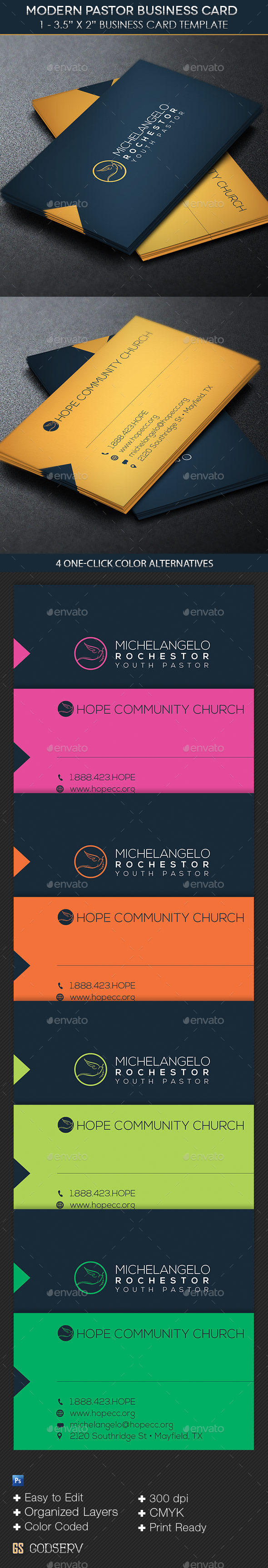 modern pastor business card template industry specific business cards - Pastor Business Cards