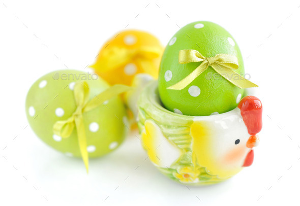 Colorful easter eggs on white background - Stock Photo - Images
