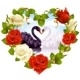 Roses and couple Swans. Greeting card 06. - GraphicRiver Item for Sale