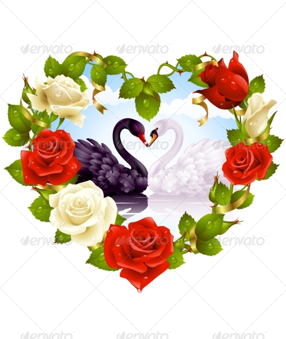 Roses and couple Swans. Greeting card 06. - Weddings Seasons/Holidays