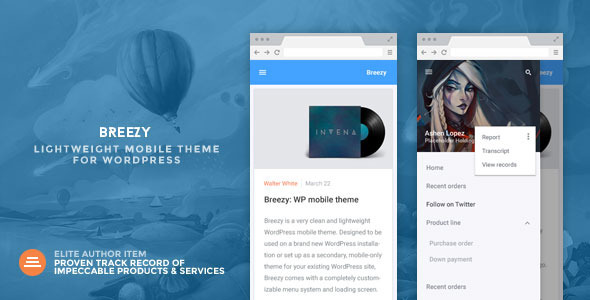 Breezy – A Lightweight Mobile Theme for WordPress
