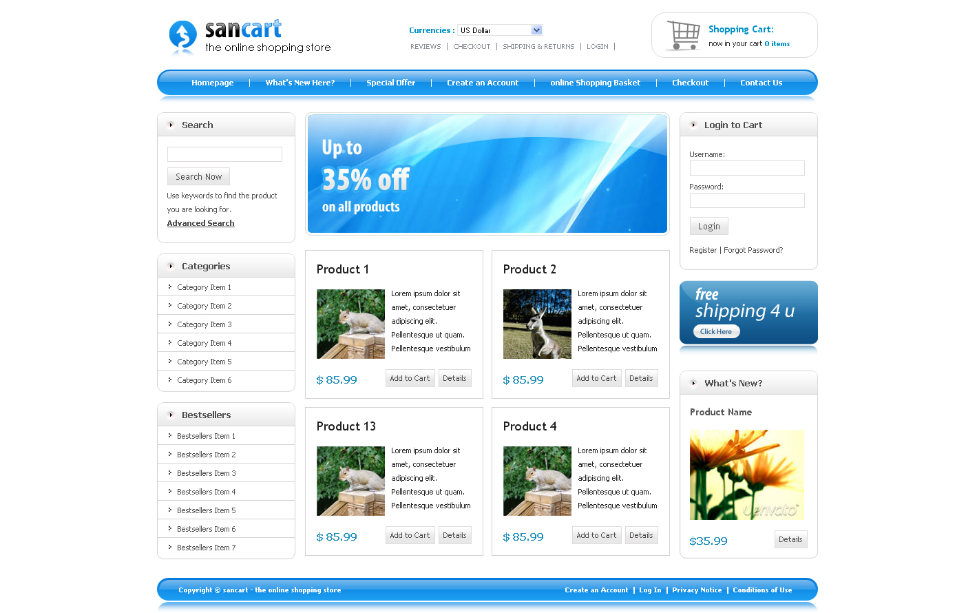 Free Download SANCART HTML SHOPPING CART TEMPLATE Nulled Latest Version