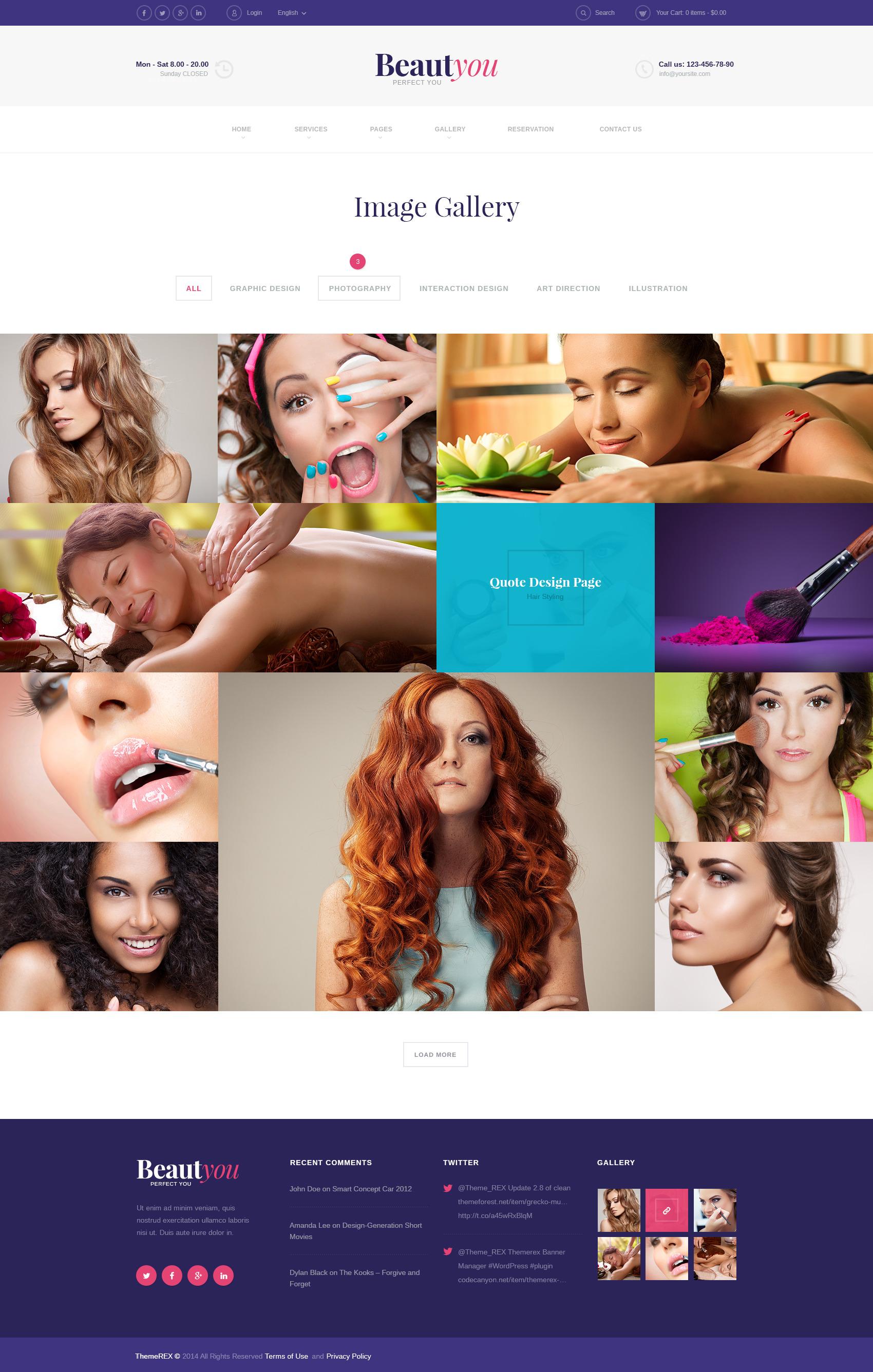 beauty hair spa salon wordpress theme