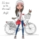 Fashion Hipster Girl with Bike and Dog - GraphicRiver Item for Sale