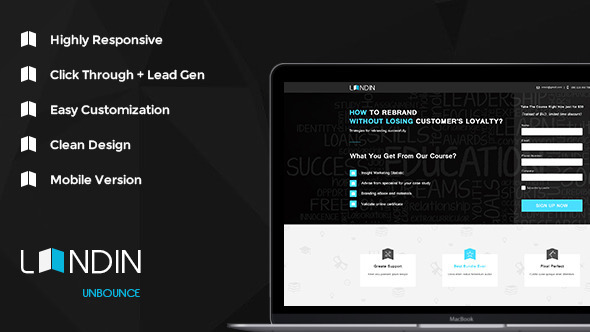 Landin - Education Landing Unbounce Template - Unbounce Landing Pages Marketing