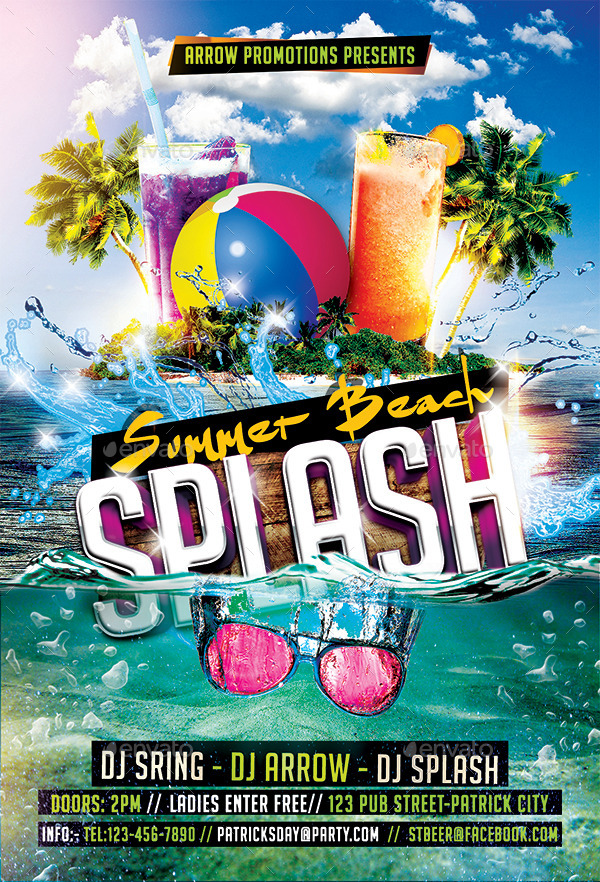 Summer Beach Splash Flyer Template By Arrow  Graphicriver