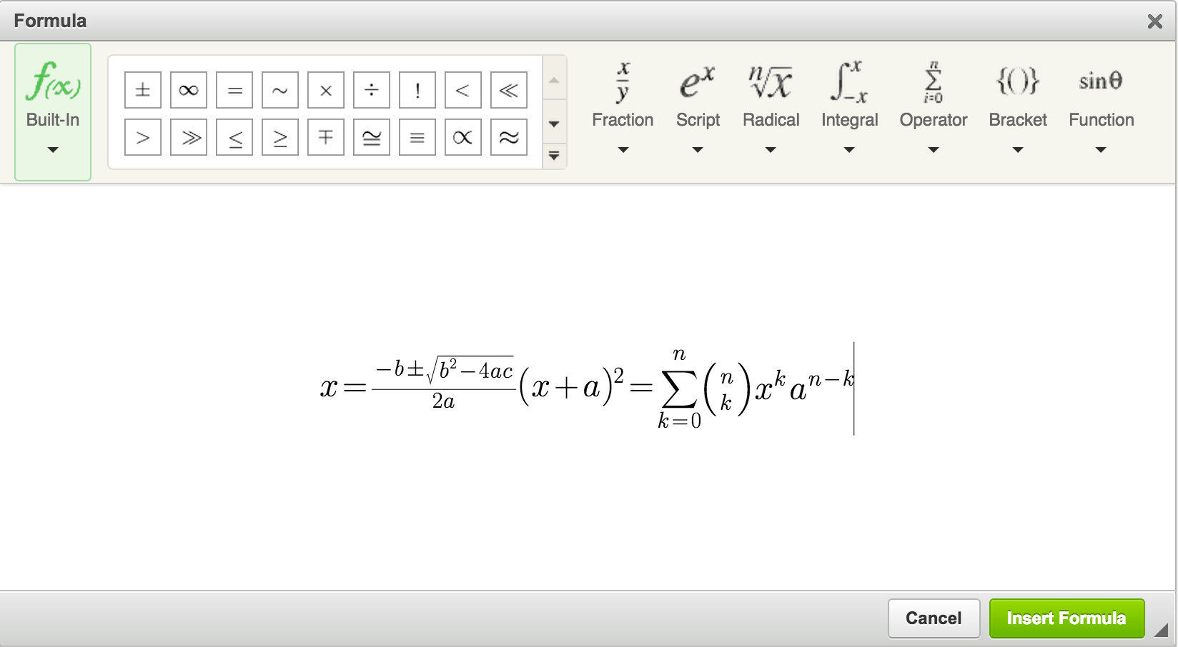 CKEditor4 Formula Editor