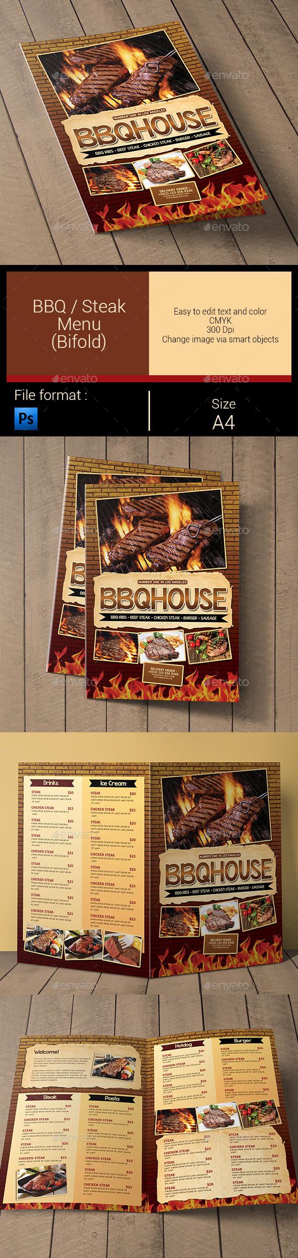BBQ / Steak Menu Bifold - Food Menus Print Templates