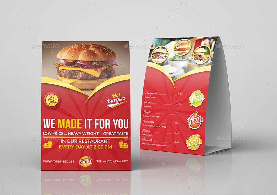 Restaurant and Cafe Table Tent Template Vol9 : restaurant table tents - memphite.com