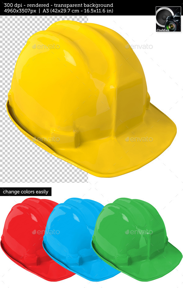 Yellow Safety Helmet on Transparent Background - Objects 3D Renders