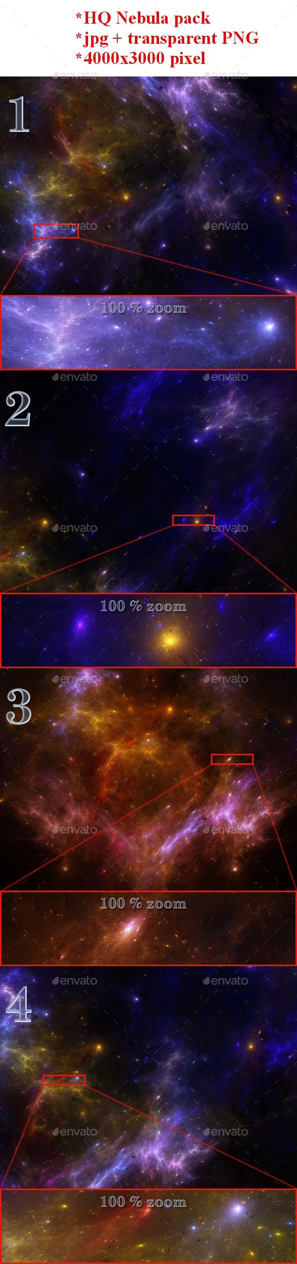 Pack of 4 Nebula Background - Nature Backgrounds