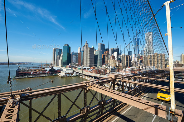 Lower Manhattan skyline view from Brooklyn Bridge - Stock Photo - Images