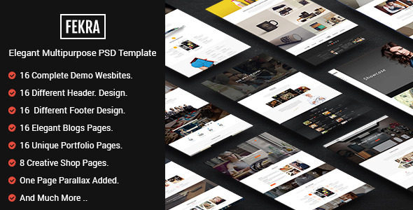 Fekra - Elegant Multipurpose PSD Theme - Corporate PSD Templates