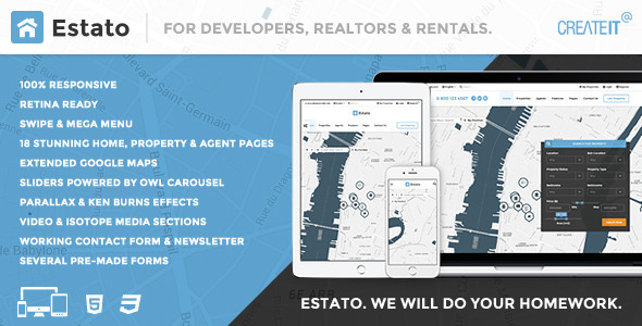 ESTATO. Responsive Featured Real Estate HTML theme - Corporate Site Templates