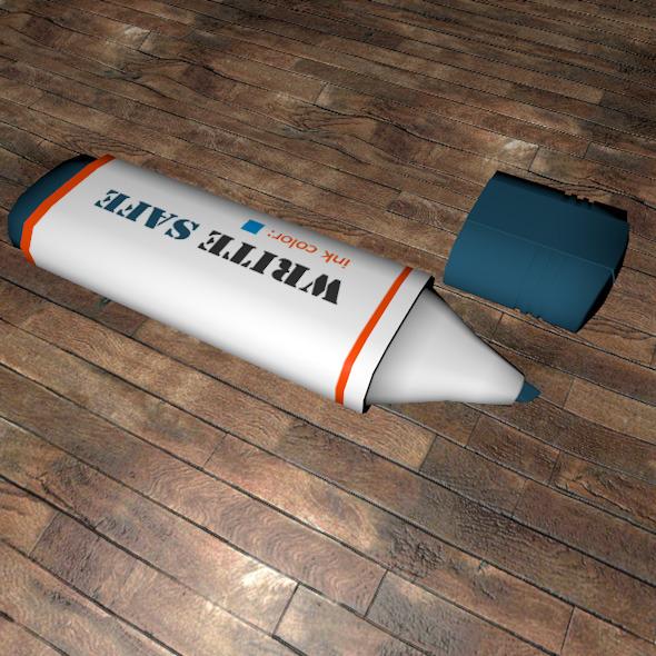 Low Poly Board Marker Pen - 3DOcean Item for Sale