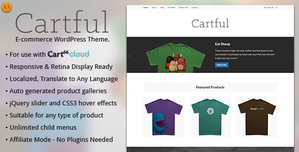 Cartful – Ecommerce WordPress Theme for Cart66