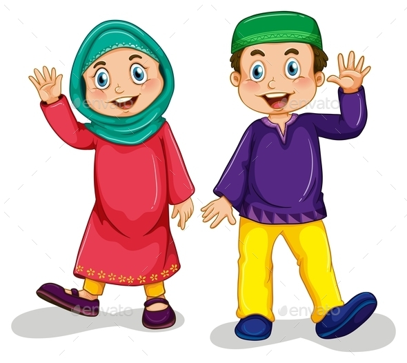 Muslim Boy And Girl By Interactimages Graphicriver