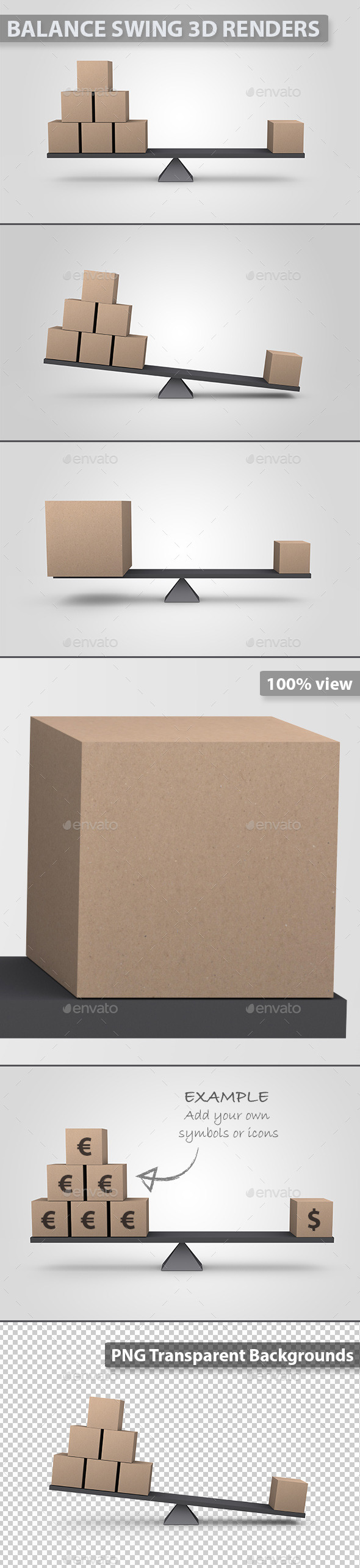 Balanced 3D Cardboard Boxes - Abstract 3D Renders