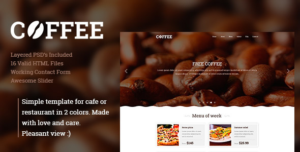 Coffee –  Responsive Restaurant Cafe Site Template