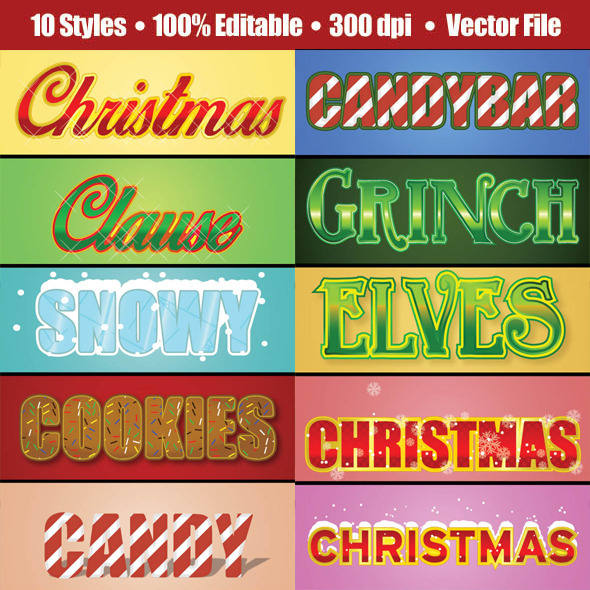 3D Christmast Glamour Text/Graphic Style - Styles Illustrator